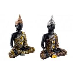 Buda Vestido Sentado Plata/Oro