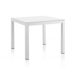 Mesa Aluminio Blanco C/Cristal Blanco