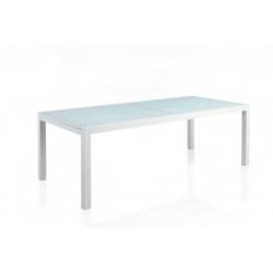 Mesa Rect. Aluminio Blanco C/Cristal Blanco