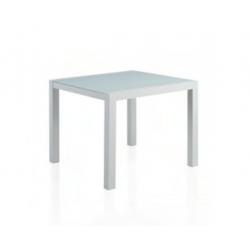 Mesa Cuadrada Aluminio Blanco C/Cristal Blanco