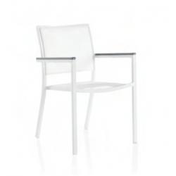 Sillón Aluminio Blanco textiline Crema