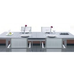 Mesa Rect. Aluminio C/Cristal Extensible